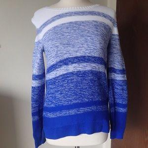 Liz Claiborne White and Blue Faded Stripe Sweater